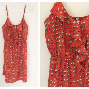 Bella D Red Sailboat Print Ruffle Dress